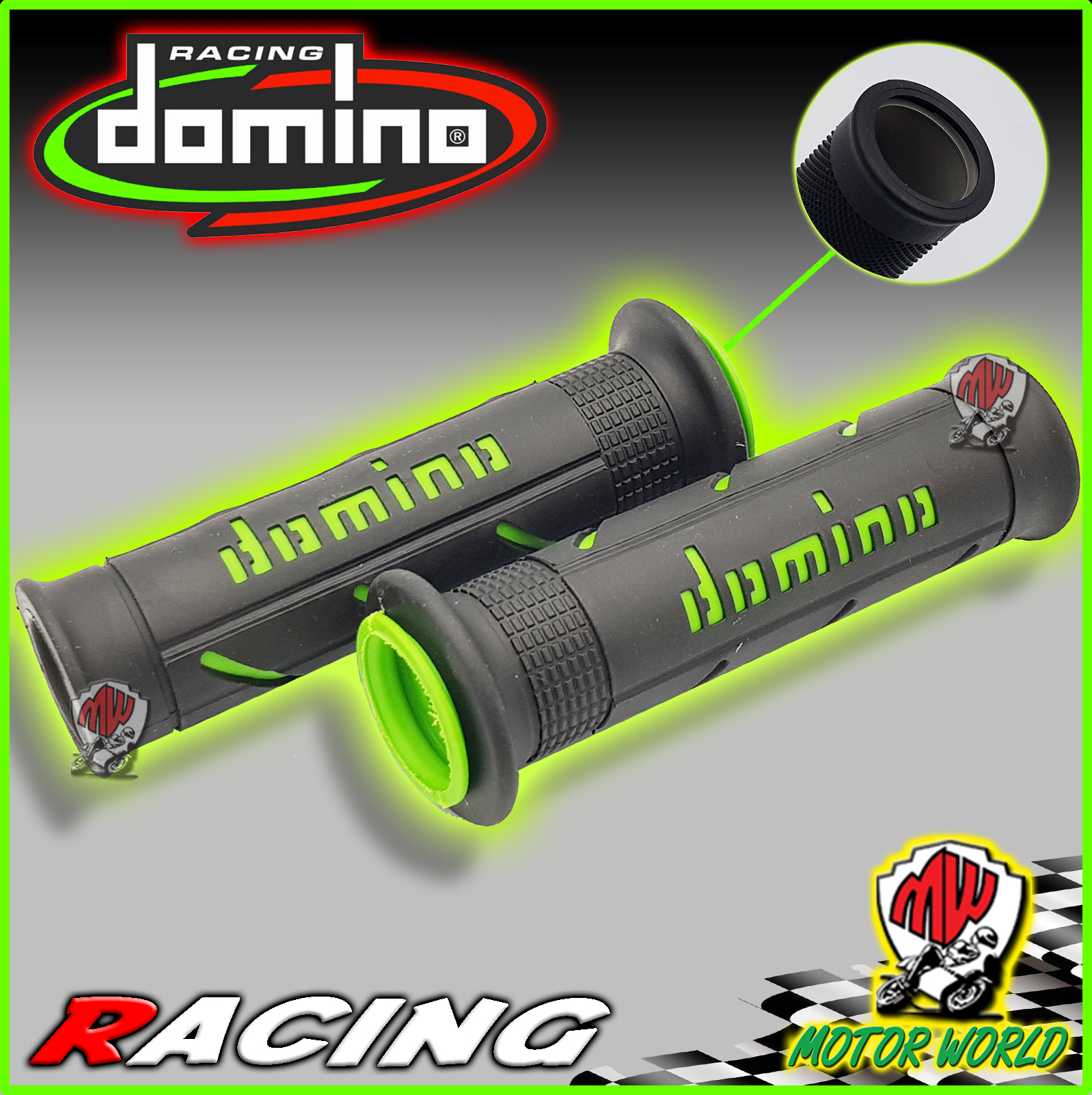 DOMINO MANOPOLE RACING XM2 FORATE SUPER SOFT NERO-VERDE HONDA HORNET