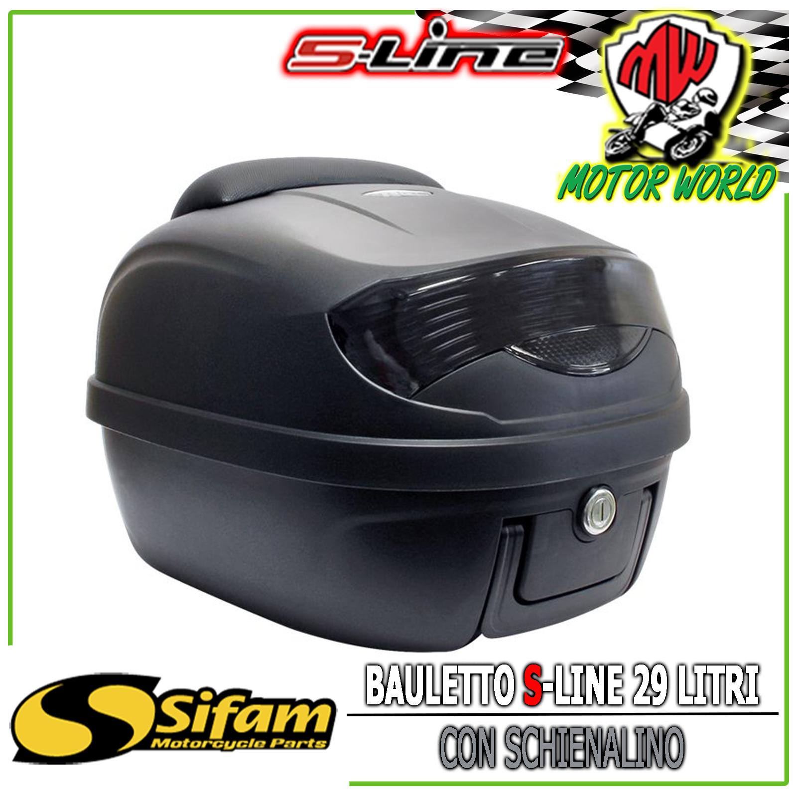 Bauletto Baule Moto Scooter 29 Litri Argento con schinale piastra